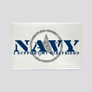 Navy - I Support My Girlfriend Rectangle Magnet