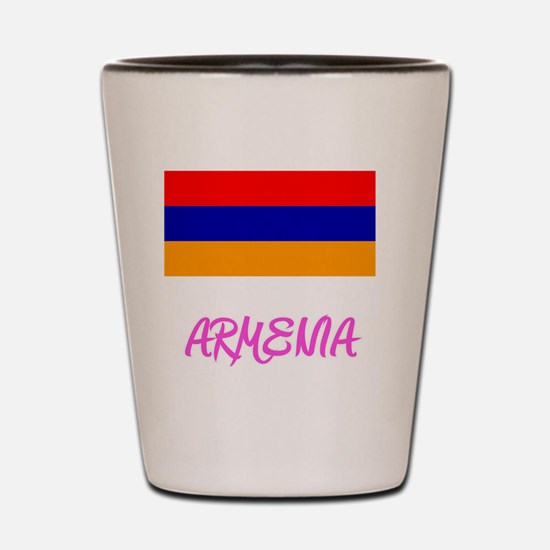 Armenia Flag Artistic Pink Design Shot Glass