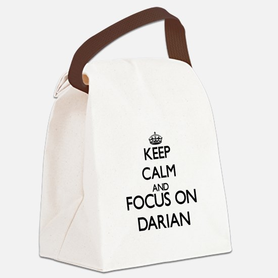 Keep Calm and Focus on Darian Canvas Lunch Bag