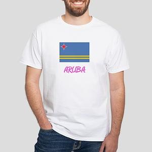 Aruba Flag Artistic Pink Design T-Shirt