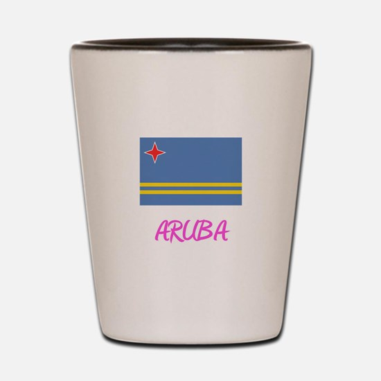 Aruba Flag Artistic Pink Design Shot Glass