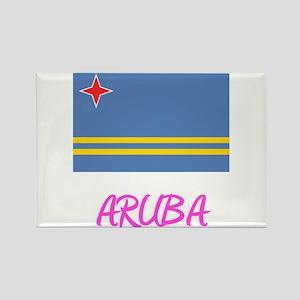 Aruba Flag Artistic Pink Design Magnets