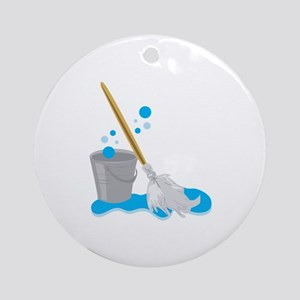 Bucket And Mop Ornament (Round)