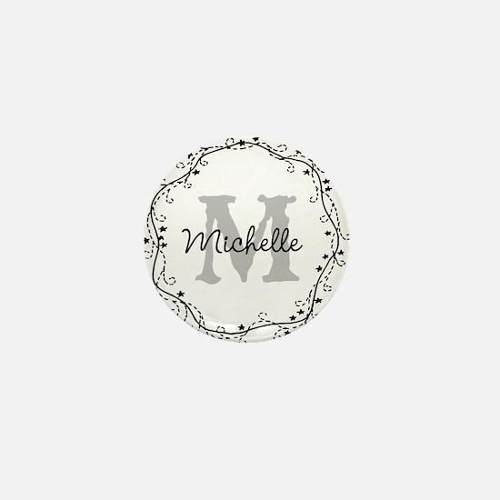 Personalized vintage monogram Mini Button