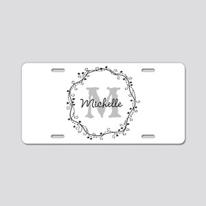 Personalized vintage monogram Aluminum License Pla