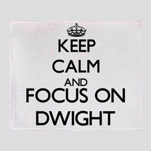 Keep Calm and Focus on Dwight Throw Blanket