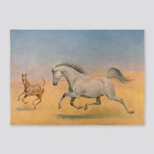 Arab Mare and Foal 5'x7'Area Rug