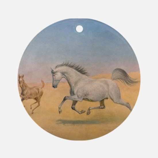 Arab Mare and Foal Ornament (Round)