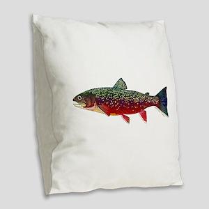 Brook Trout v2 Burlap Throw Pillow
