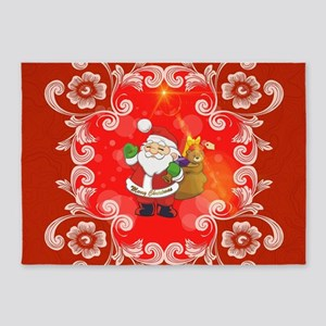 Cute Santa Claus on red background 5'x7'Area Rug