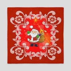 Cute Santa Claus on red background Queen Duvet