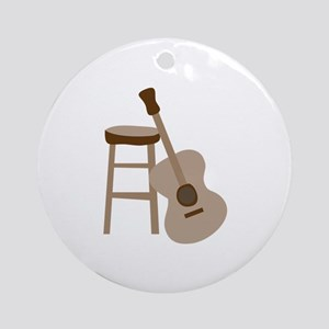 Guitar and Stool Ornament (Round)