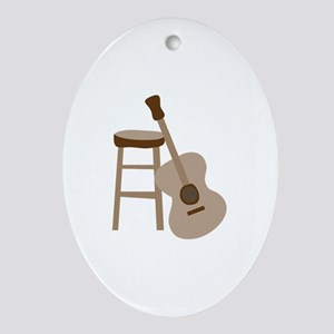 Guitar and Stool Ornament (Oval)