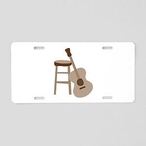 Guitar and Stool Aluminum License Plate