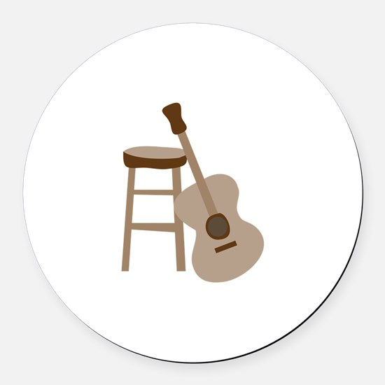 Guitar and Stool Round Car Magnet
