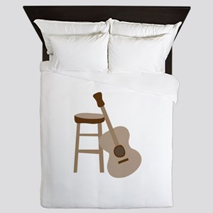 Guitar and Stool Queen Duvet