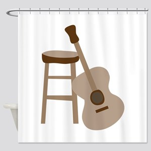 Guitar and Stool Shower Curtain