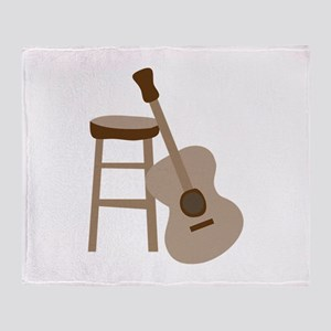 Guitar and Stool Throw Blanket