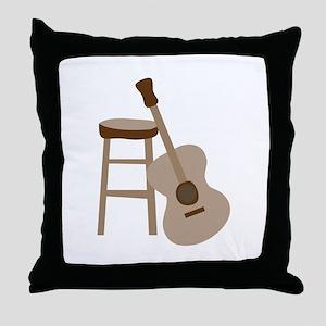 Guitar and Stool Throw Pillow