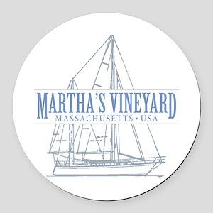 Martha's Vineyard - Round Car Magnet