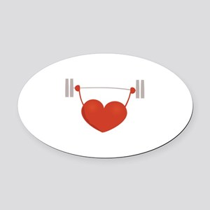 Weightlifting Heart Oval Car Magnet