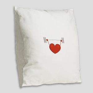 Weightlifting Heart Burlap Throw Pillow