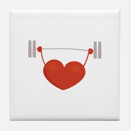 Weightlifting Heart Tile Coaster