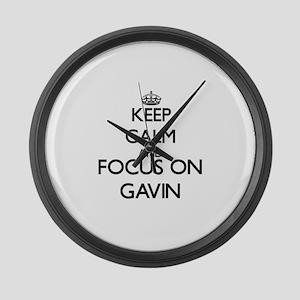 Keep Calm and Focus on Gavin Large Wall Clock