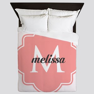 Light Pink Custom Personalized Monogra Queen Duvet