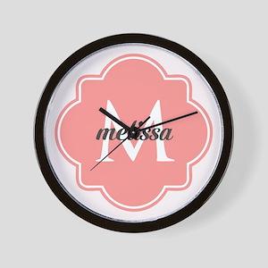 Light Pink Custom Personalized Monogram Wall Clock