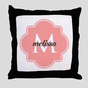 Light Pink Custom Personalized Monogr Throw Pillow
