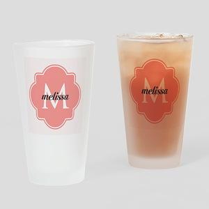 Light Pink Custom Personalized Mono Drinking Glass