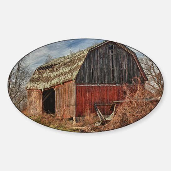 Old Barn 1 Sticker (Oval)
