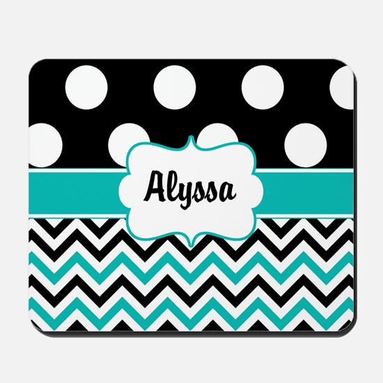 Black Blue Dots Chevron Personalized Mousepad