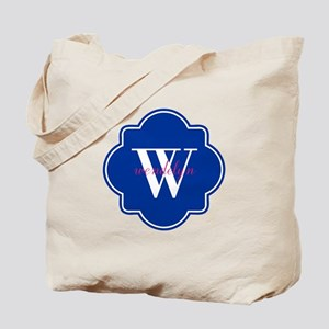Blue Custom Personalized Monogram Tote Bag