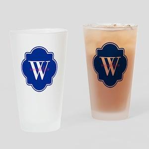 Blue Custom Personalized Monogram Drinking Glass