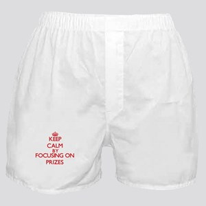 Keep Calm by focusing on Prizes Boxer Shorts