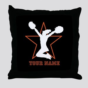 Orange Cheerleader Throw Pillow