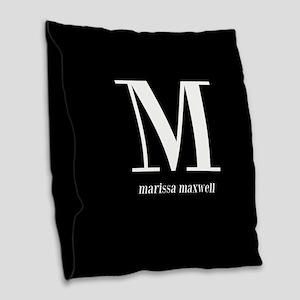 Black and White Monogram Name Burlap Throw Pillow