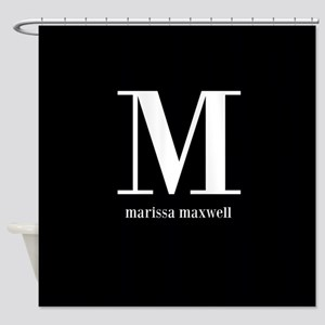 Black and White Monogram Name Shower Curtain