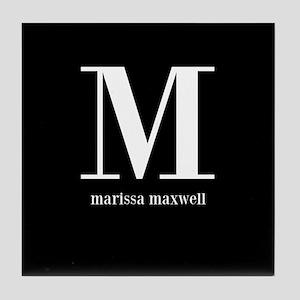 Black and White Monogram Name Tile Coaster
