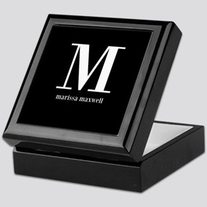 Black and White Monogram Name Keepsake Box