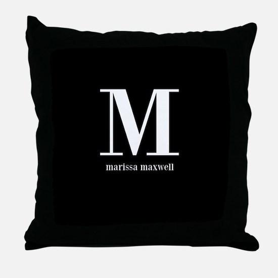 Black and White Monogram Name Throw Pillow