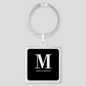 Black and White Monogram Name Square Keychain