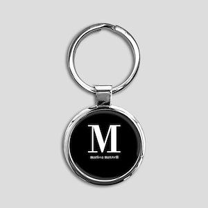 Black and White Monogram Name Round Keychain