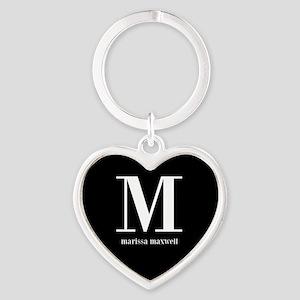 Black and White Monogram Name Heart Keychain