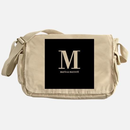 Black and White Monogram Name Messenger Bag