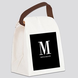 Black and White Monogram Name Canvas Lunch Bag