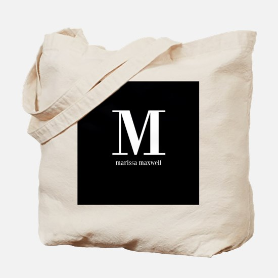Black and White Monogram Name Tote Bag