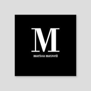 """Black and White Monogram Na Square Sticker 3"""" x 3"""""""